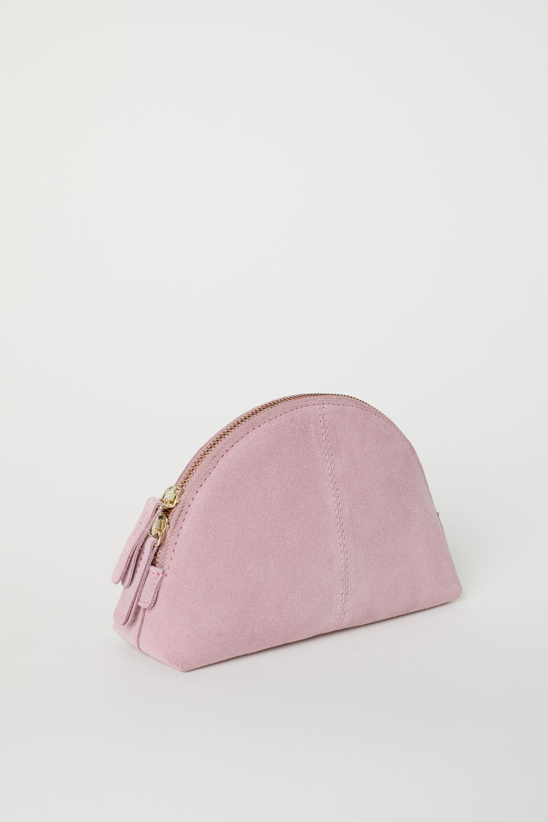 pink suede makeup bag