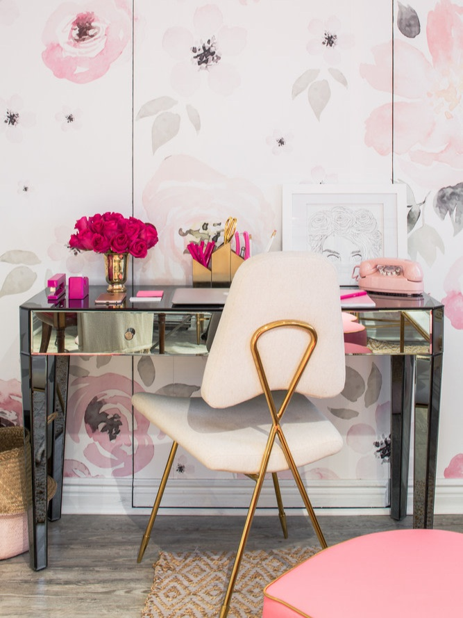 pink office soft floral