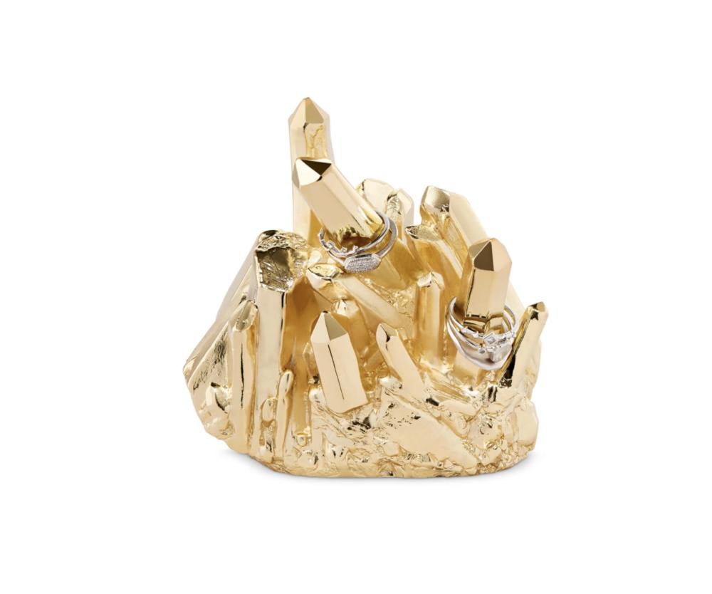 gold crystal ring holder