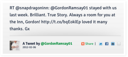 The the retweet from Gordon Ramsay. One of our favorite guests.