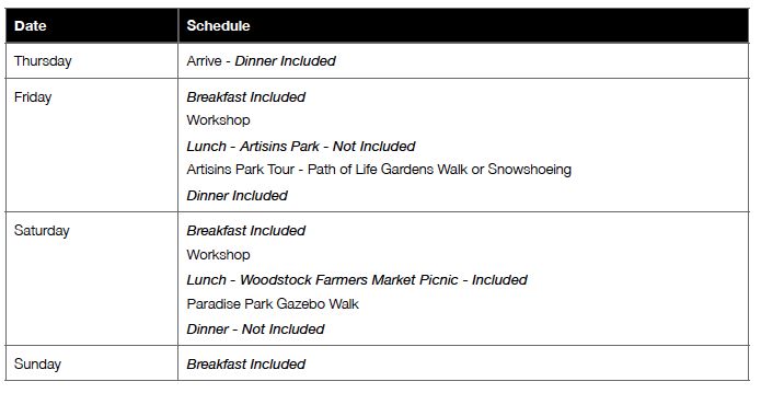 (Here is a sample schedule but it can be  TOTALLY  customized for your event.)