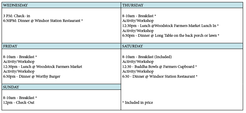 (Here is a sample schedule but it can be TOTALLY customized for your event with times,  places,  and activities)