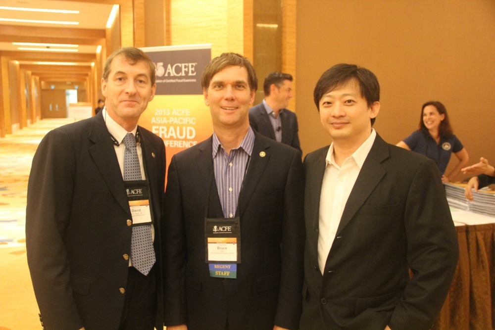 From left to right: Singapore Chapter president David Rule, CFE; ACFE VP and Program Director Bruce Dorris, J.D., CFE, CPA; and Singapore Chapter secretary Ethan Ong, CFE.