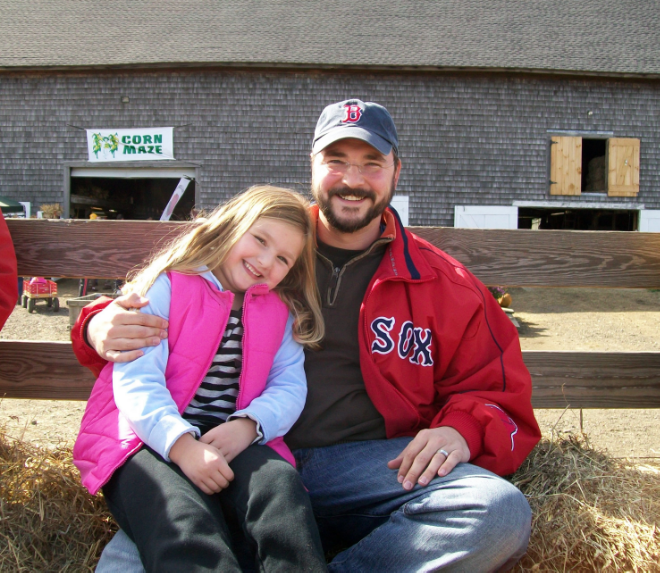 On a hayride with daughter Jenna.