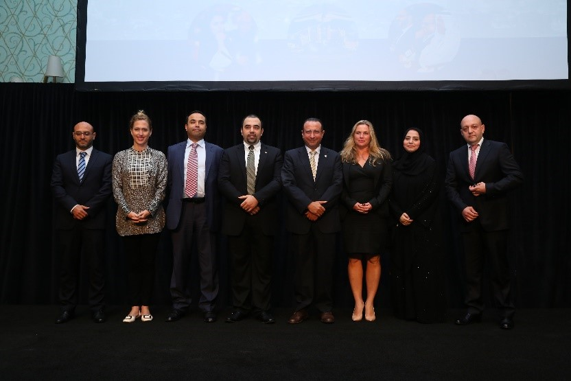 UAE Chapter Leaders. From left to right, Amr Elhansi, Heather Martin, Adnan Zaidi, Iyad Mourtada, Nabil Al Ouf, Tania Fabiani, Mona Abbas Hussain, and Achraf El Zaim