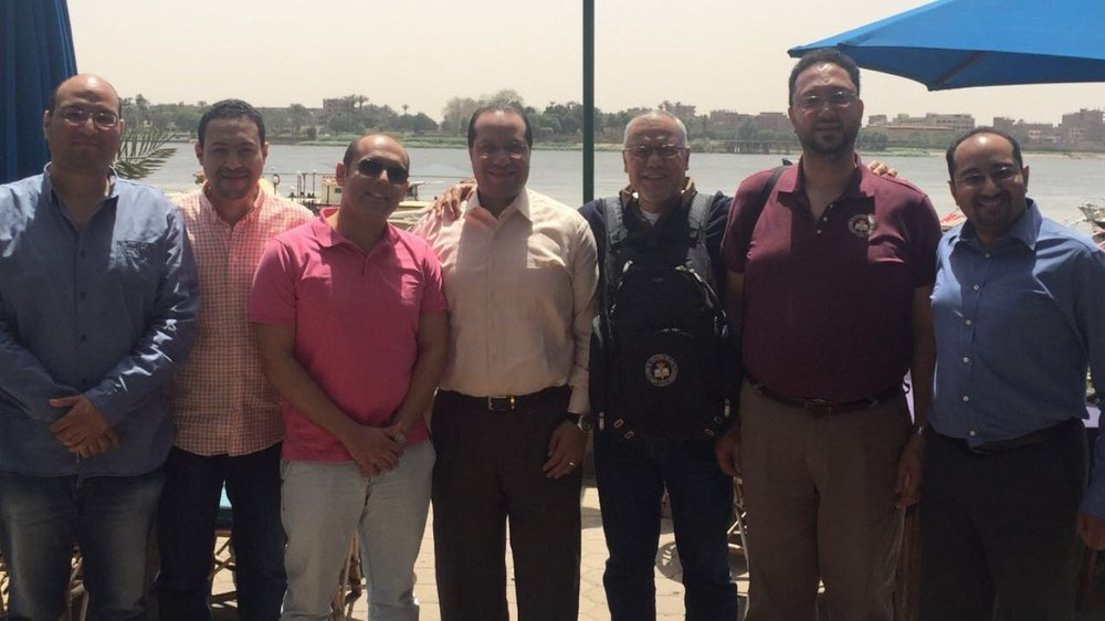 Egypt Chapter Leaders. From left to right, Ahmed Mokhtar, CFE, Mostafa Lotfy, Mahmoud Elbagoury, Tamer Shams, Hossam El-Shaffei, CFE, Tamer Gheith, CFE, and Amr Kambal