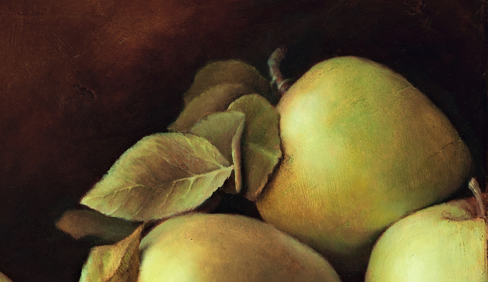 "detail of ""Five Mutsu Apples from Stepp's Orchard by Julie Doornbos"