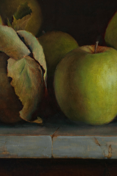 "detail of ""A Peck of Green Apples"" by Julie Doornbos"