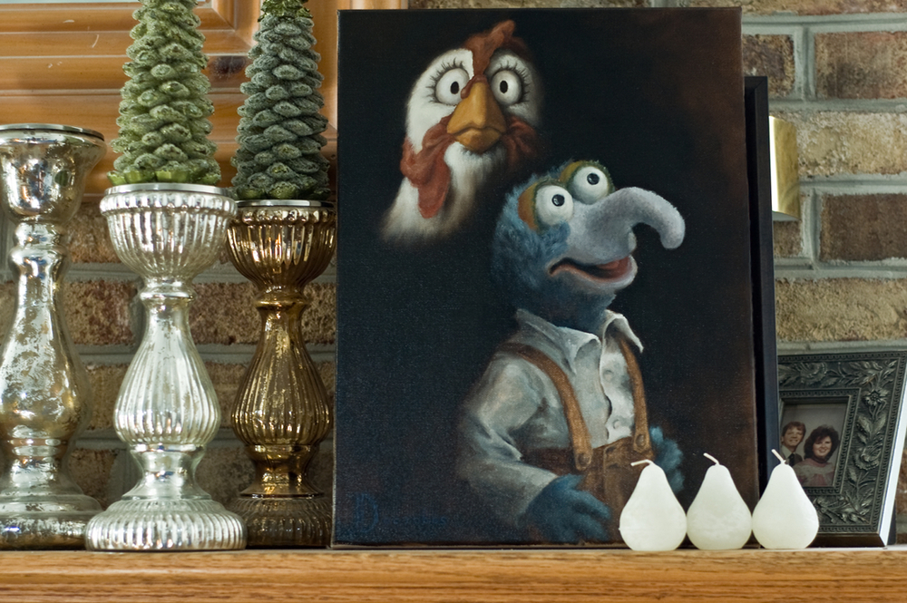 Camilla and Gonzo's Awkward Portrait  private collection  oil on canvas