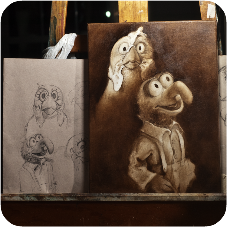 the making of Camilla and Gonzo's Awkward Portrait