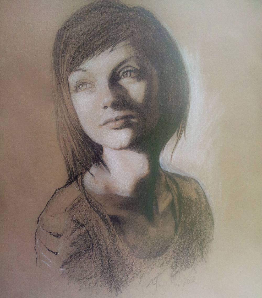 Portrait of Madison Graphite and chalk private collection