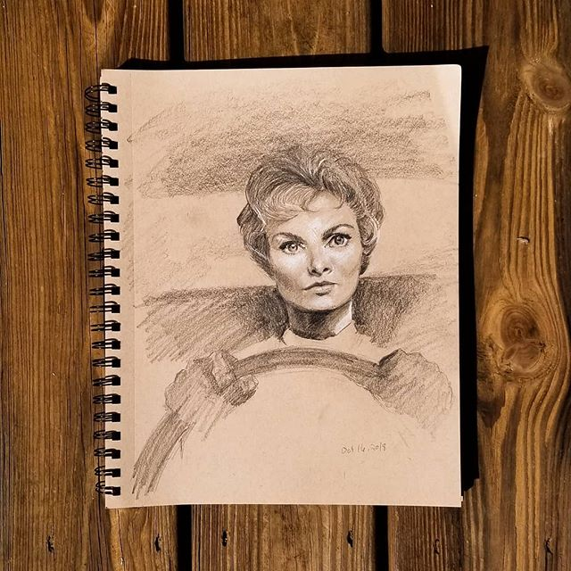 Sketching from film stills for the fun of it.  #Hitchcock #scarymovies #draw #drawing #pencilsketch #sketchbook #portrait