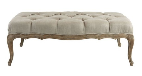 oak ottoman upholstered bench french beige linen baxton weathered country celeste