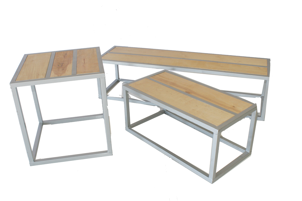 Metal Frame Wood Top Accent Tables