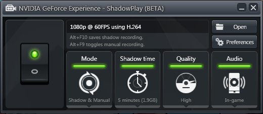 The ShadowPlay control panel doesn't have much to tweak