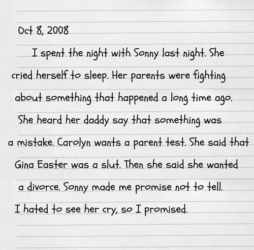 October 8, 2008 - Alder's Childhood Journal #1