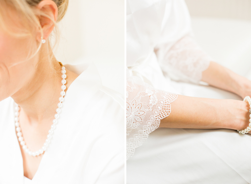pearl necklace earring lace robe