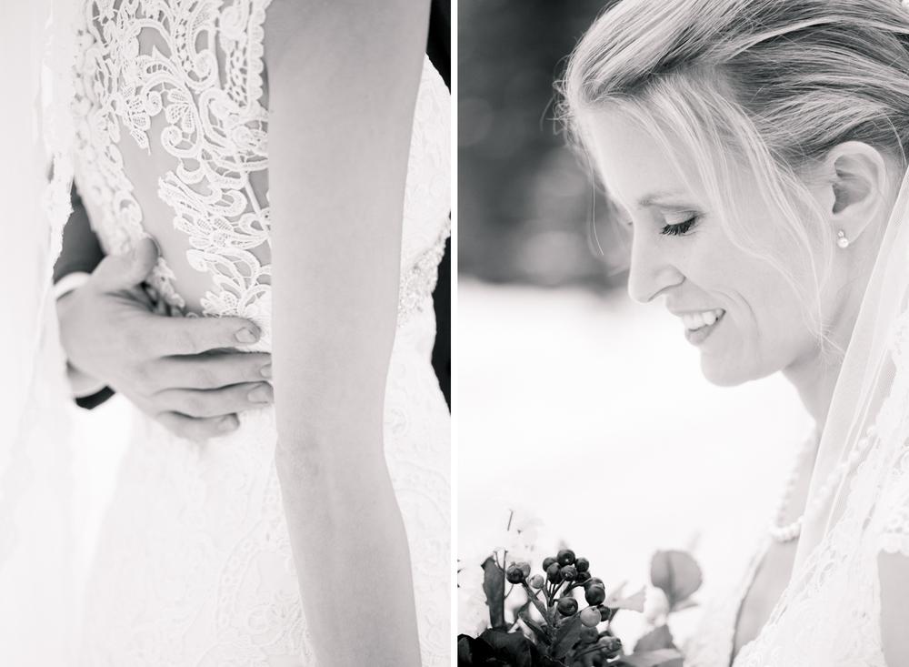 grooms hand on brides waist makeup detail