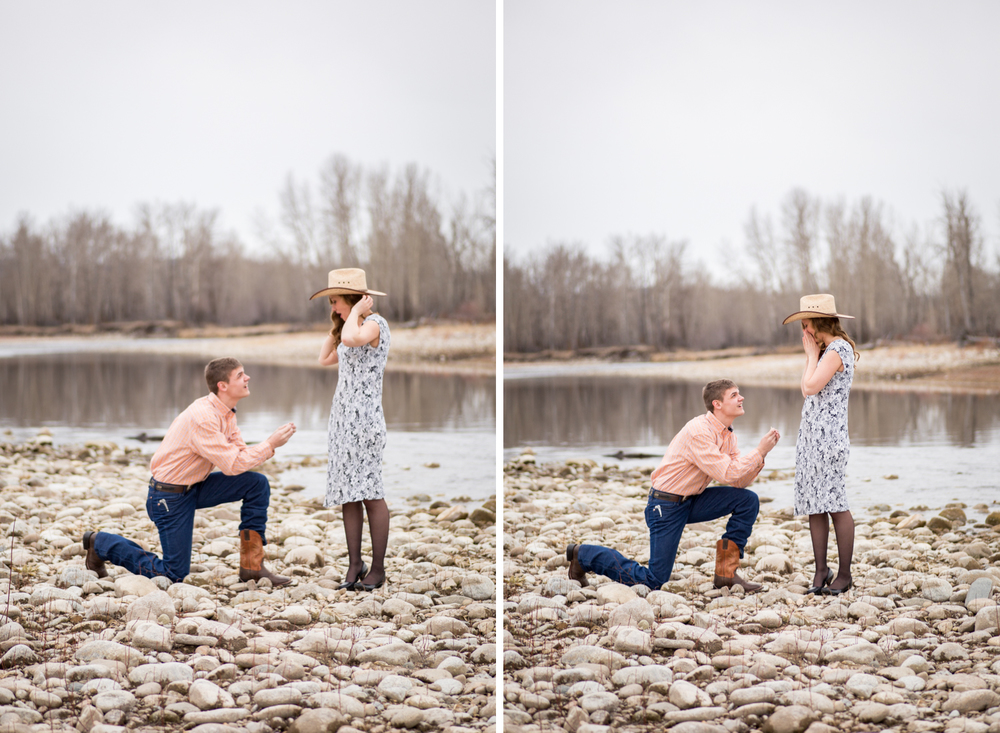 montana proposal by river man on knee surprise