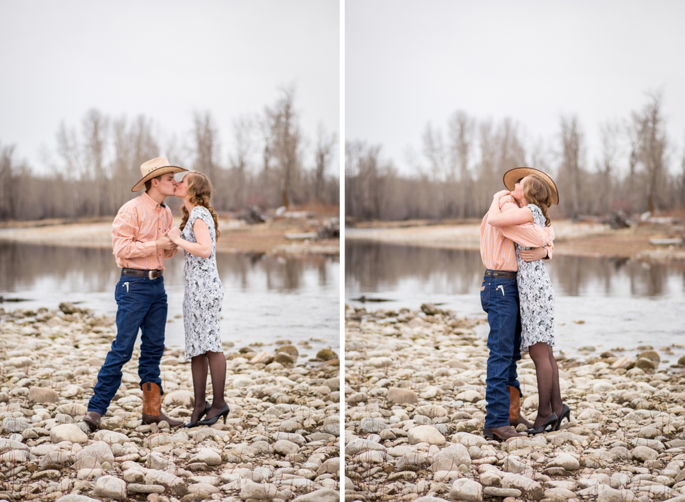montana proposal by river couple hugging