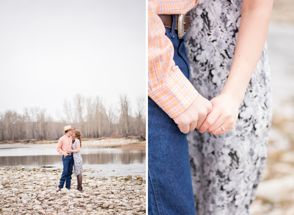 montana engagement couple holding hands ring shot