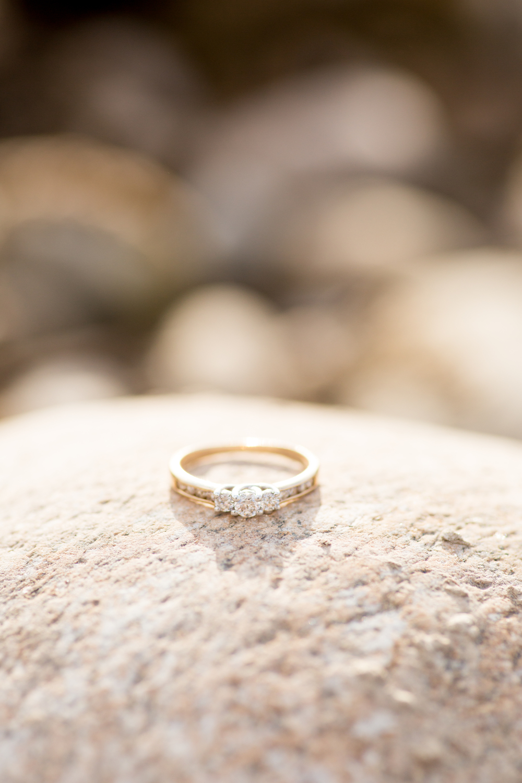 diamond engagement ring on rock