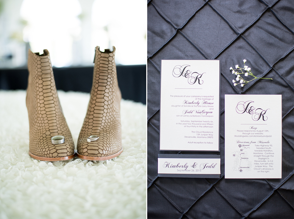 alligator skin boots ring shot classy black and white wedding invitations