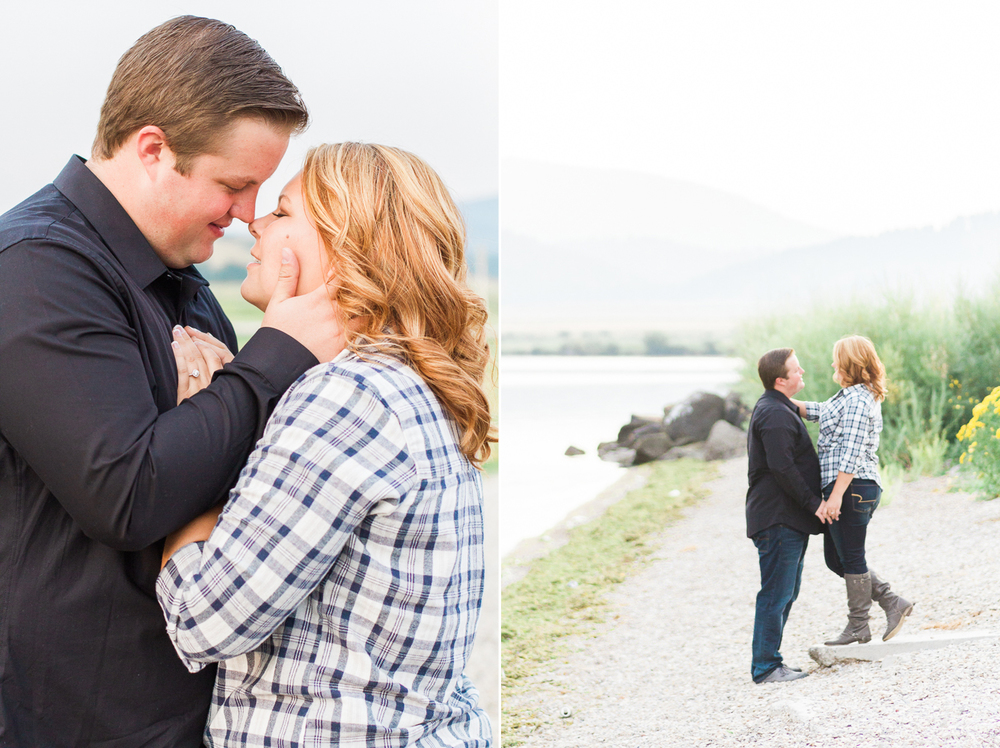 outdoor engagement session couple almost kissing