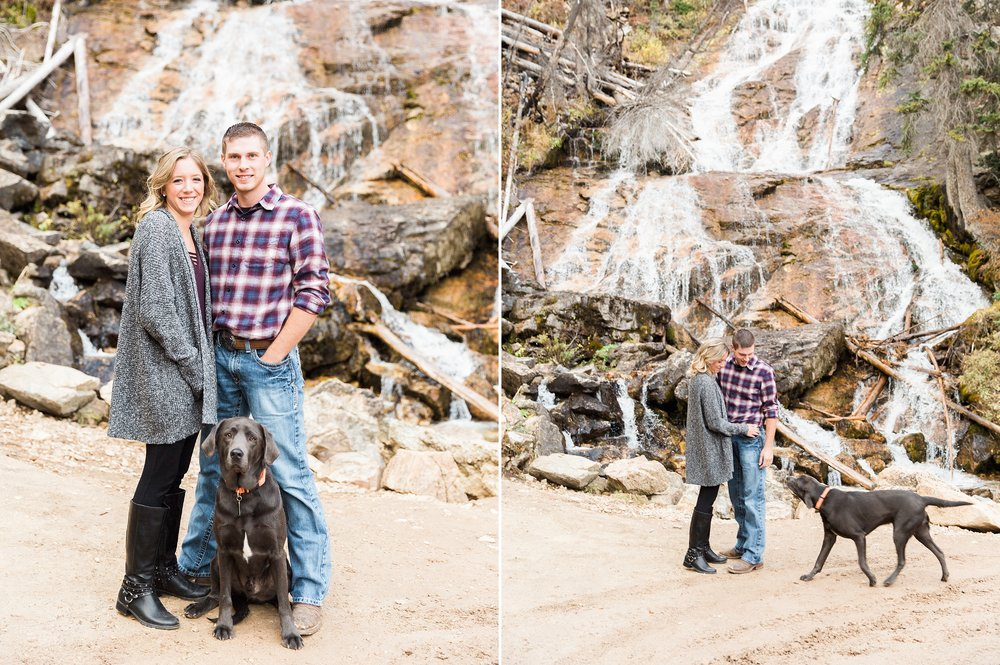 engagement session, mountain couple, Montana engagement, Montana wedding photographer, skalkaho falls, skalkaho pass, engagement photos with dog, waterfall, Stella Kelsie photography