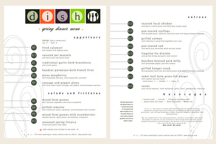 Dish Bistro Fall 2012 menu