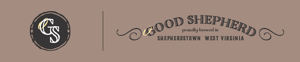 These are the final marks for Good Shepherd. The round mark would also become the bottle cap. The tagline and wings are omitted when necessary but the halo is always attached.