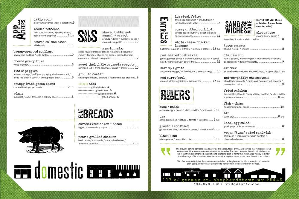 domestic fall 2015 lunch menu