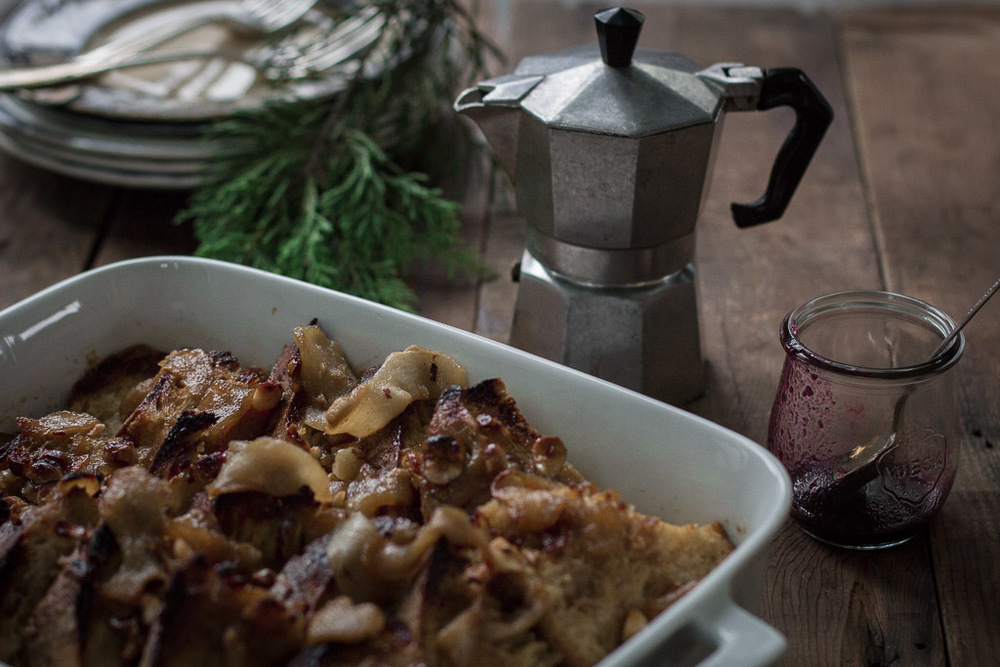 Baked French Toast with Pears, Hazelnuts and Blackberry-Cardamom Syrup // Milly's Kitchen