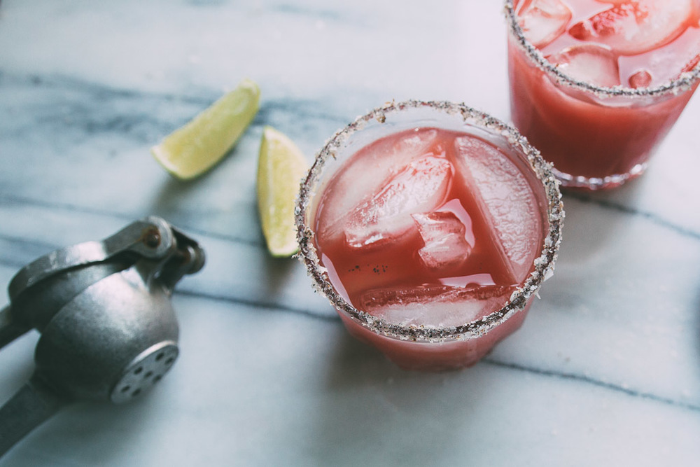 honey-watermelon cocktail with a vanilla-salt rim // millys-kitchen.com