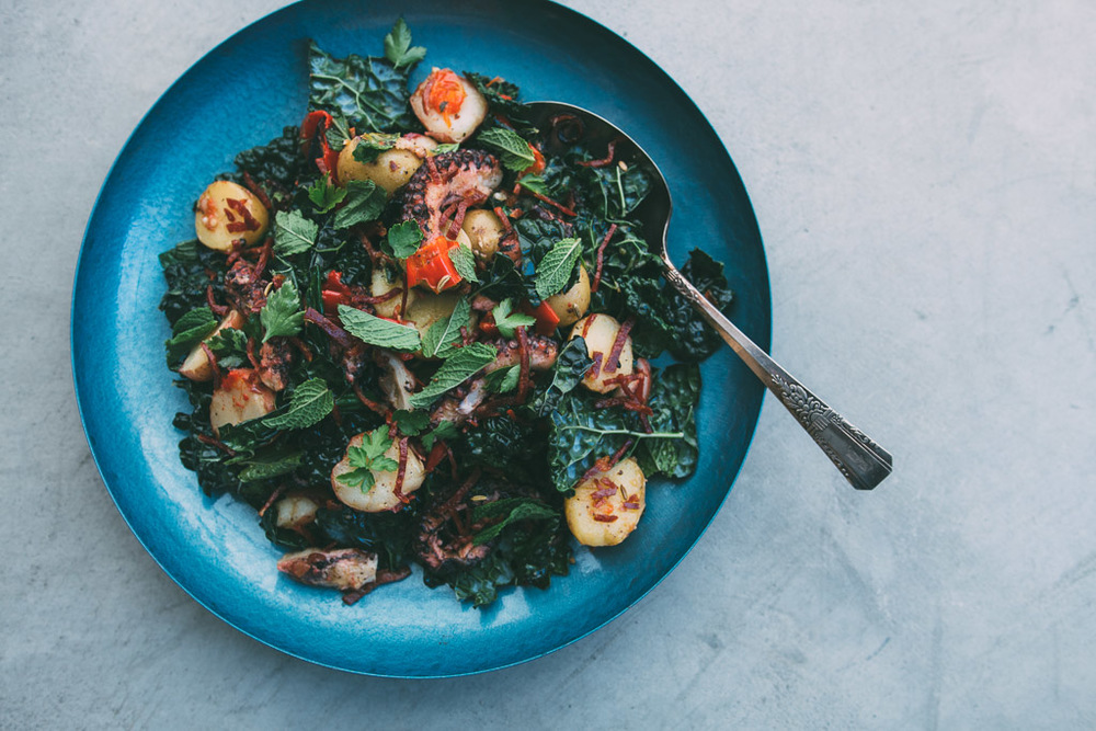 Warm Potato Kale and Octopus Salad with Chorizo Vinaigrette // Millys-Kitchen.com