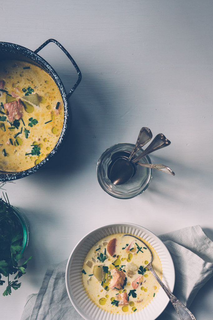 salmon chowder with fennel and corn // millys-kitchen.com