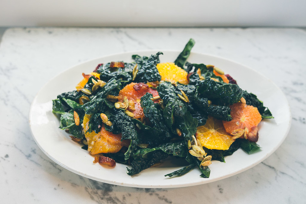 kale and citrus salad with vanilla bean vinaigrette on millys-kitchen.com