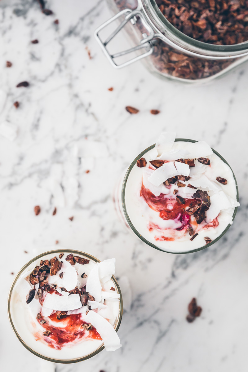 roasted rhubarb parfaits with coconut yogurt and cacao nibs via millys-kitchen.com