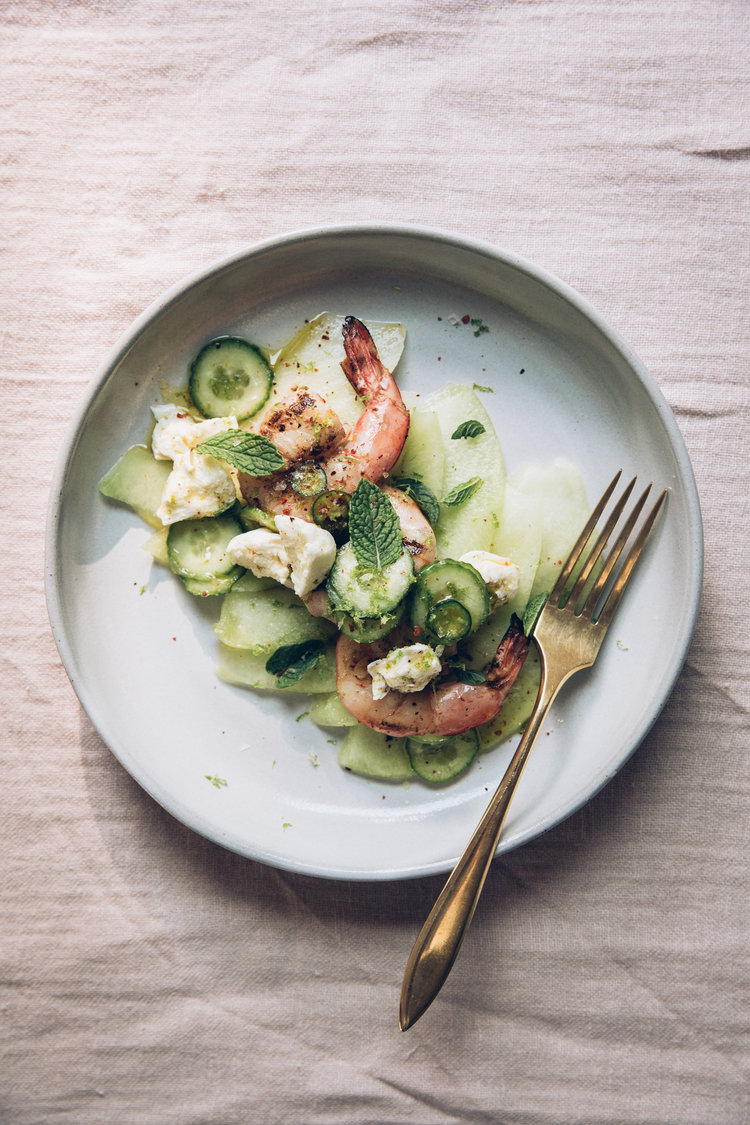 Grilled Shrimp with Melon, Cucumbers, and Mozzarella