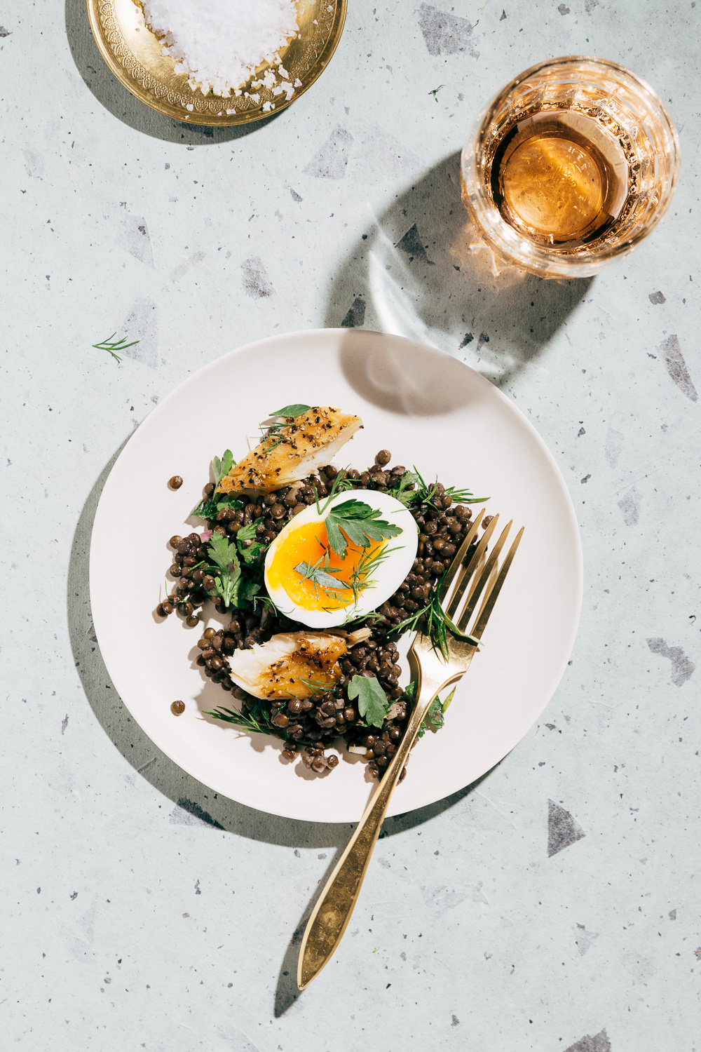 lentil salad with smoked mackerel and soft boiled eggs // image + styling: Olaiya Land