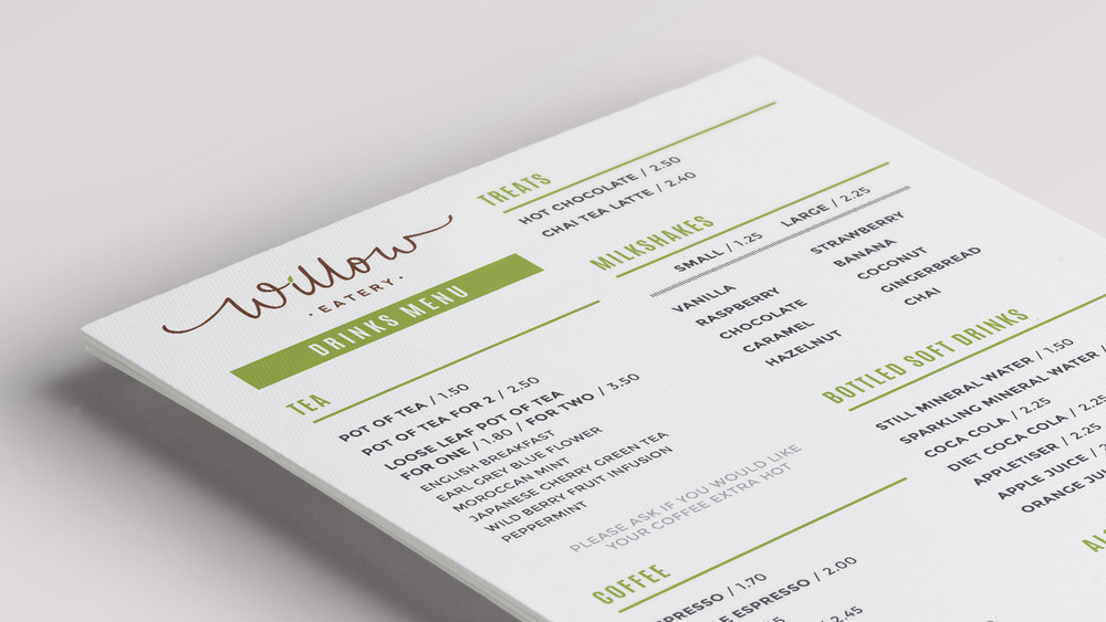 Willow Eatery Menu Close-up