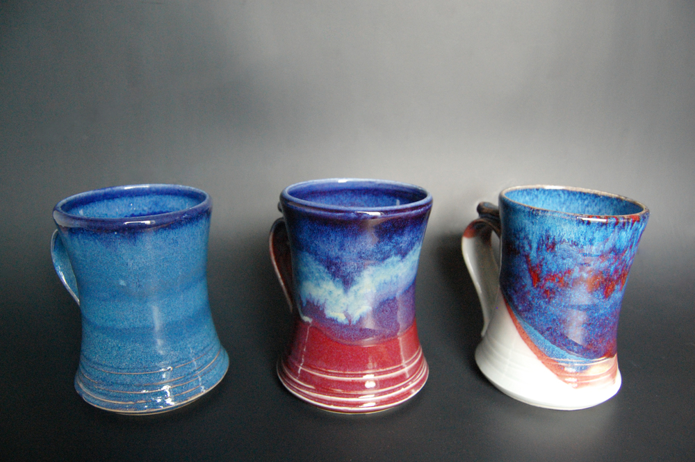 Excited with how the glazes on these mugs turned out.