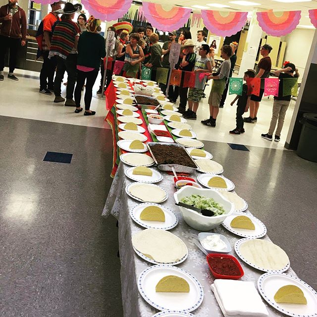 [swipe...] The TABLE OF TACOS was a huge success!!! How many people were stuffed??? 🌮🌯🌮🌯 We ate, we ate some more, we listened to terrible Mexican music, we played pass the sombrero mouth of fire and we even got to watch a bit of the Oilers game. 😉  #gygenyouth #youthministry #jesusisreal #taconight #epicGY #tableoftacos #somanyfullmouthpictures #sombreros #tacohats