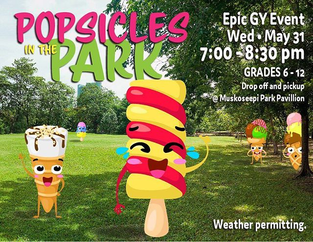 Next week! EPIC GY! Contact Pastor Danita for any questions!  ADDITION: We are permitting students to bring skateboards, scooters or rollerblades *with helmets*. NO bikes. 😊