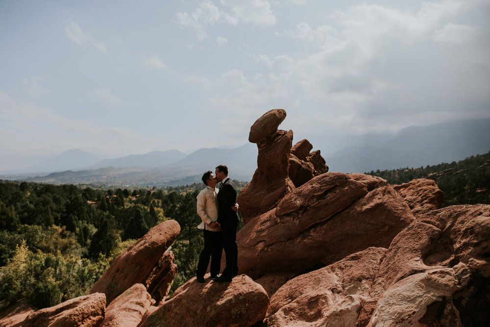 Same Sex Elopement Photographer - Garden of the Gods - Colorado Springs Destination Wedding - Adventure Session