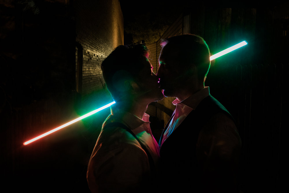 Same Sex Elopement Photographer - Reception Rainbow PixelStick Portrait - Colorado Springs Destination Wedding