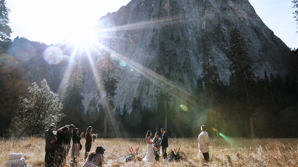 Yosemite National Park Elopement - Elopement Videographer - Destination Elopement Photographer - El Capitan Meadow Wedding