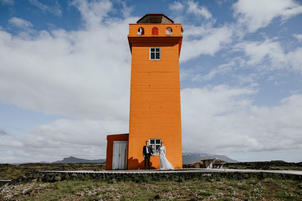 Iceland Wedding Photographer - Vow of the Wild - Snæfellsnes Peninsula Wedding - Lighthouse