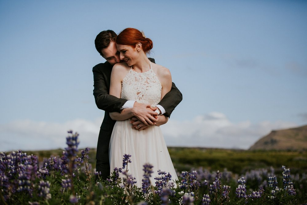 Iceland Wedding Photographer - Vow of the Wild - Snæfellsnes Peninsula Wedding - Lupine Field