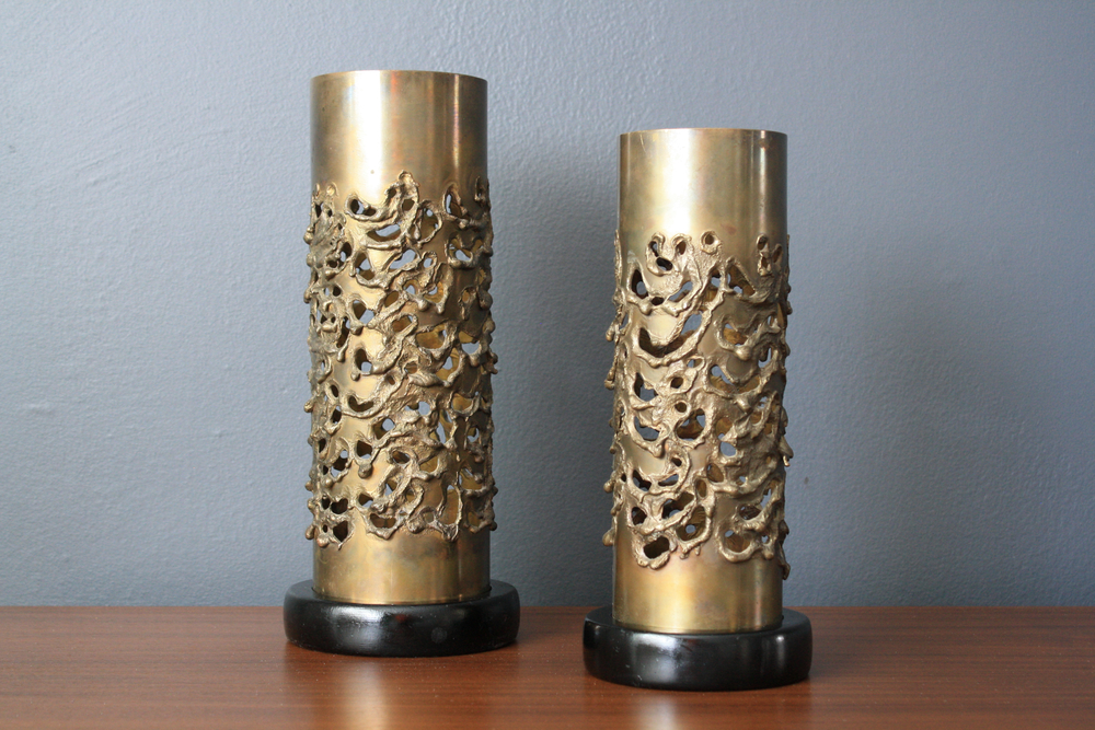 Pair of Vintage Mid-Century Brutalist Candle Holders by Robert Stanton
